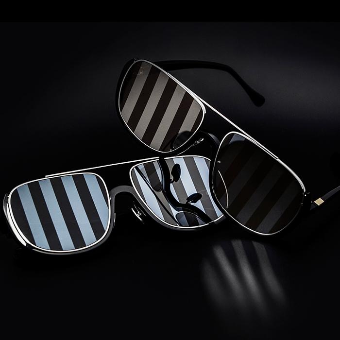 条纹感黑色包边眼镜 | JINNNN联名款